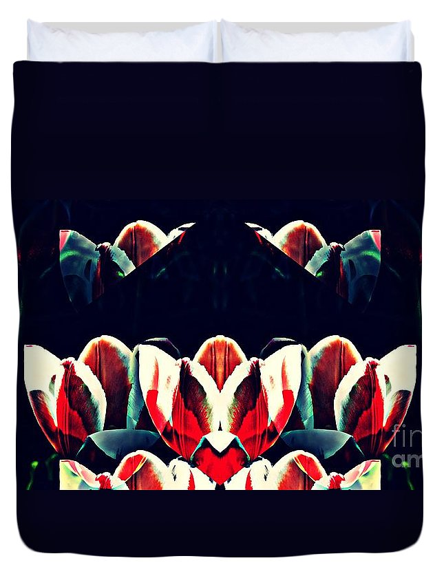 Tulip Duvet Cover featuring the digital art Tulip Panorama by Sarah Loft