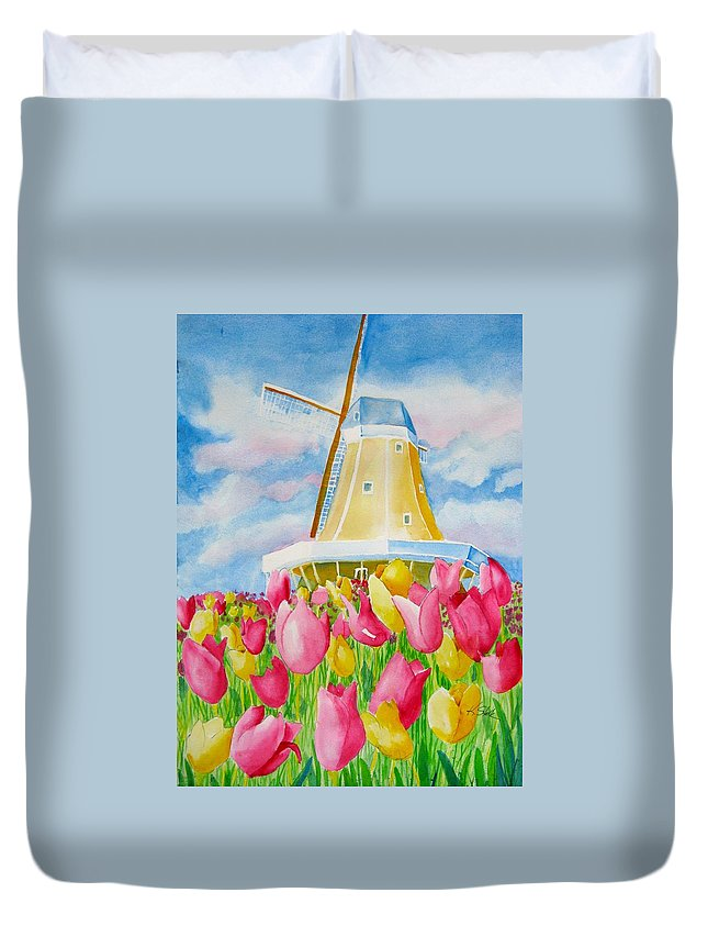 Tulip Duvet Cover featuring the painting Tulip Time by Karen Stark