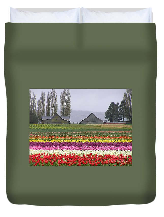 Tulips Duvet Cover featuring the photograph Tulip Town Barns by Louise Magno