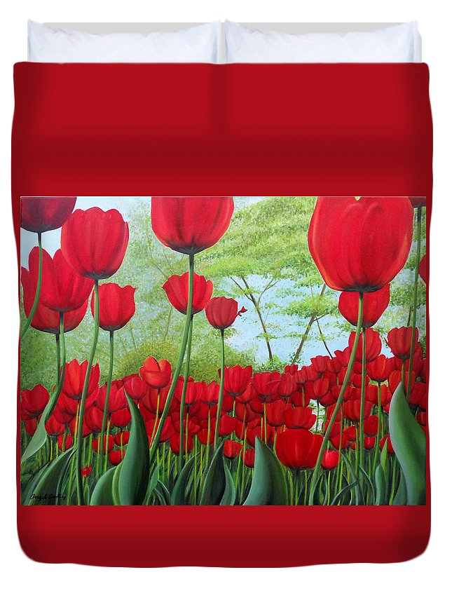 Tullips Duvet Cover featuring the painting Tulipanes by Angel Ortiz