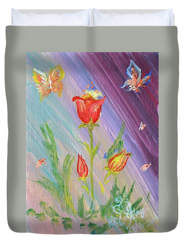 Duvet Cover featuring the painting Tulips And Butterflies by Katerina Naumenko