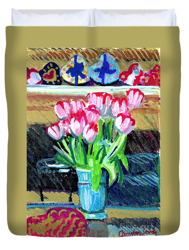 Tulips Duvet Cover featuring the painting Tulips And Valentines by Candace Lovely