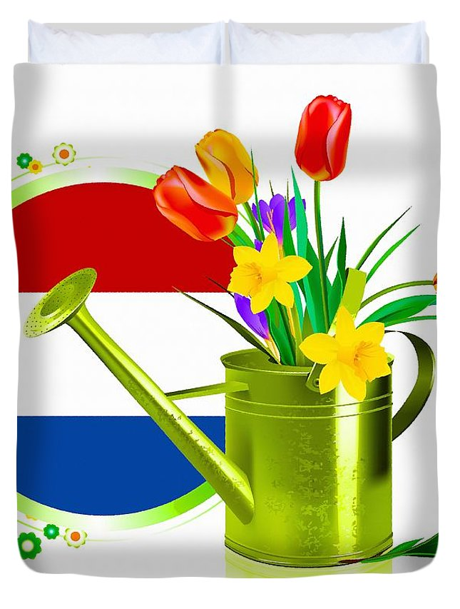 Decoration Duvet Cover featuring the digital art Tulips Eco by Don Kuing
