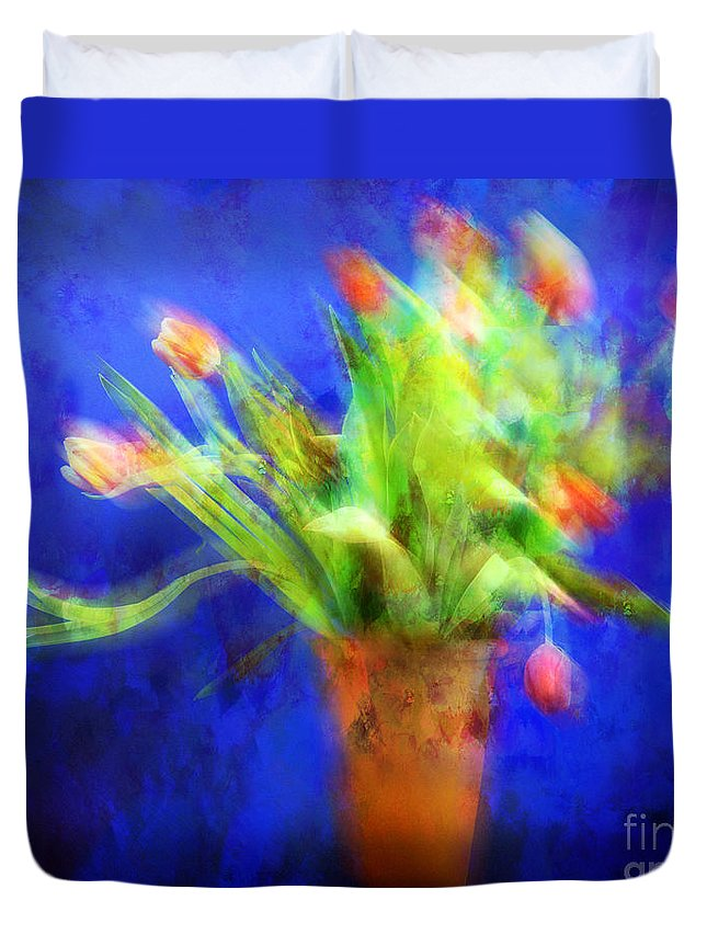 Abstract Duvet Cover featuring the photograph Tulips In The Blue by Edmund Nagele