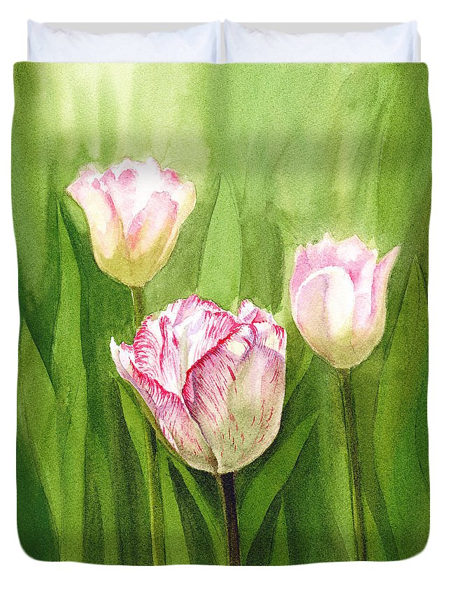 Tulip Duvet Cover featuring the painting Tulips In The Fog by Irina Sztukowski