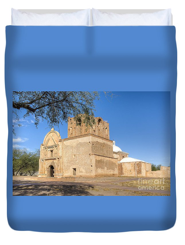 Mission Duvet Cover featuring the photograph Tumacacori 50 by Larry White