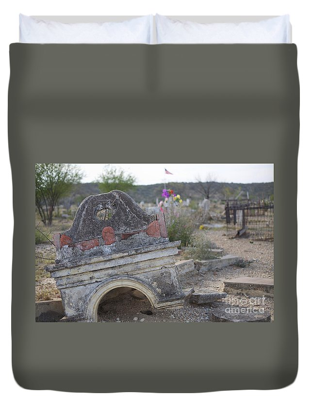 Sad Duvet Cover featuring the photograph Tumbling Tombstone by Erika Weber