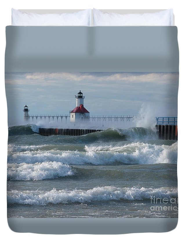 Wind Duvet Cover featuring the photograph Tumultuous Lake by Ann Horn