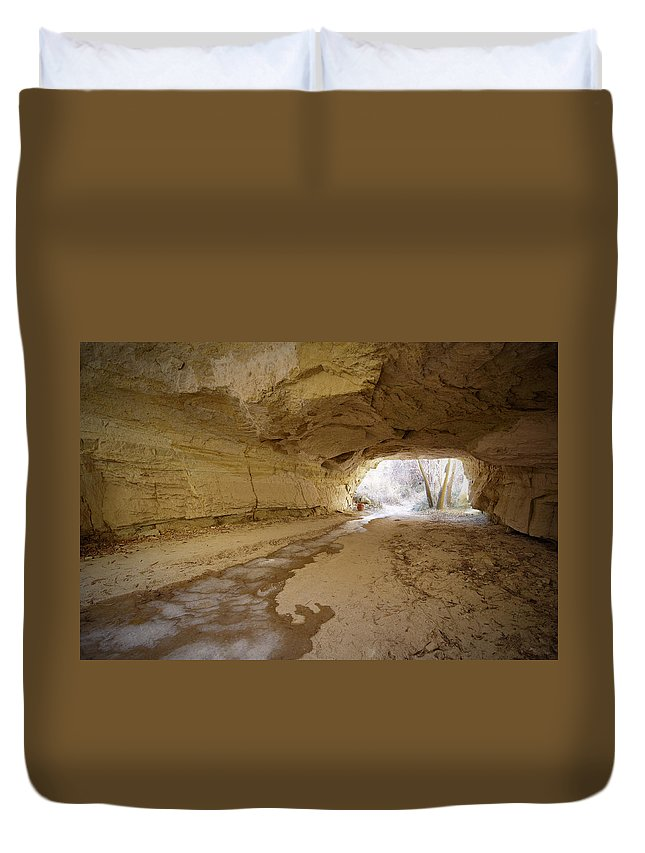Mineral Duvet Cover featuring the photograph Tunnel by Sandsun