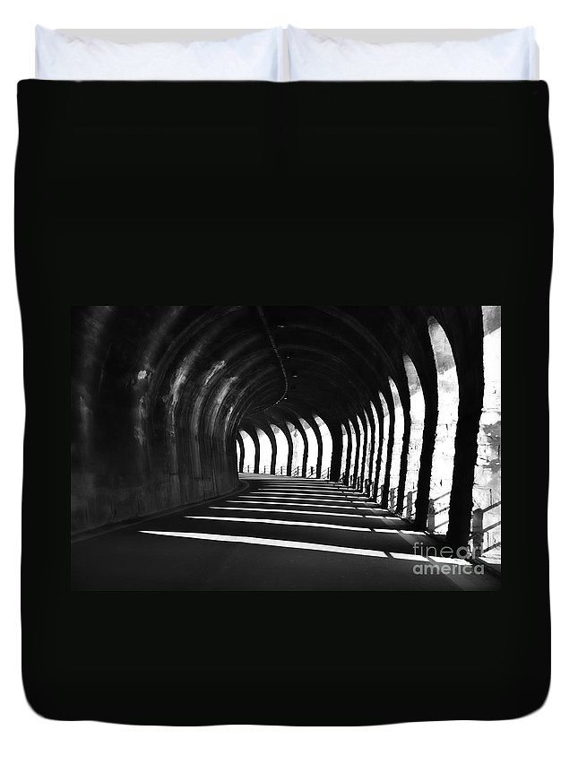 Tunnel Duvet Cover featuring the photograph Tunnel With Shadows by Mats Silvan