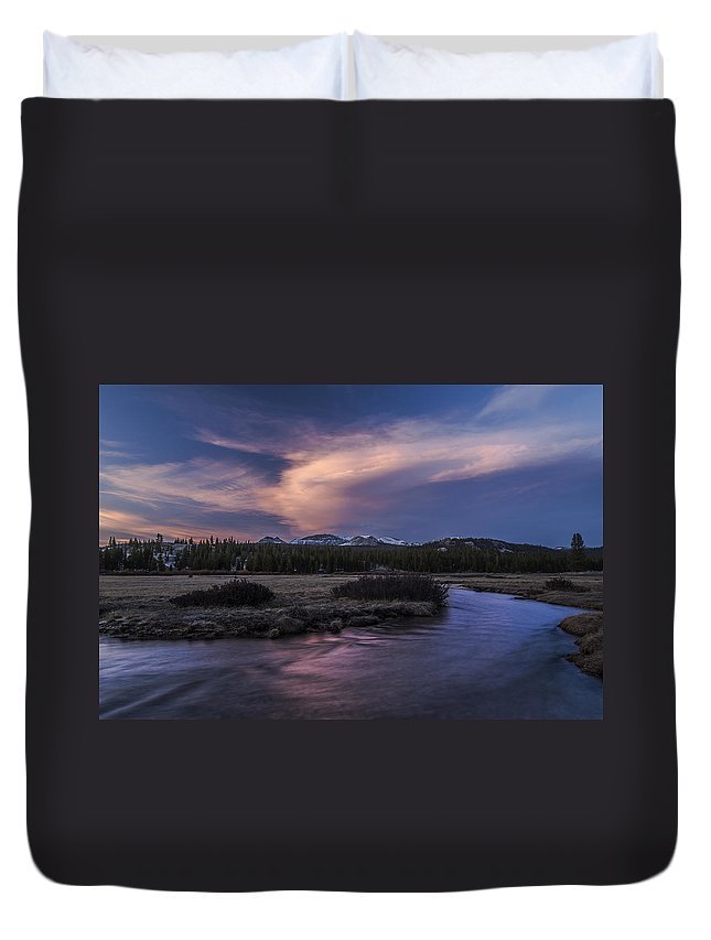 River Duvet Cover featuring the photograph Tuolumne Meadows Sunset by Cat Connor