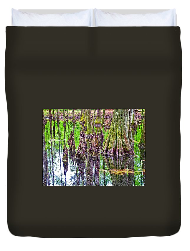 Tupelo/cypress Swamp Reflection At Mile 122 Of Natchez Trace Parkway Duvet Cover featuring the photograph Tupelo/cypress Swamp Reflection At Mile 122 Of Natchez Trace Parkway-mississippi by Ruth Hager