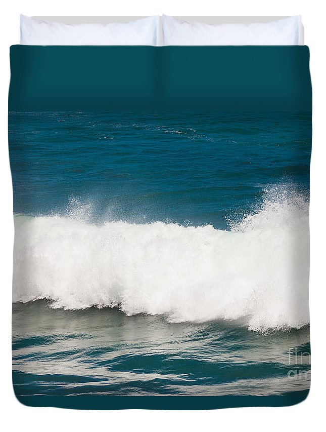 Action Duvet Cover featuring the photograph Turbulent Water Of Breaking Ocean Wave And Spray by Stephan Pietzko