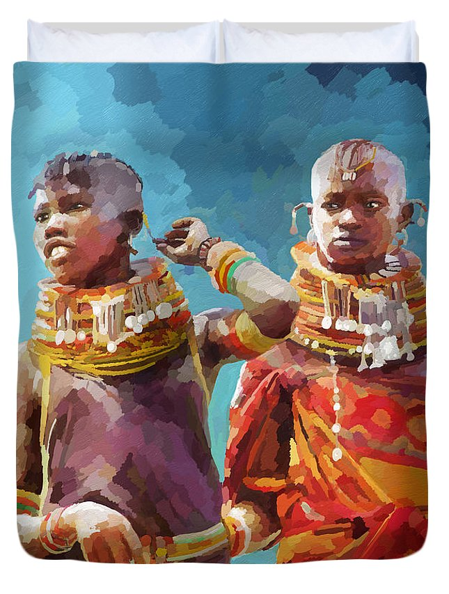 Tradition Duvet Cover featuring the painting Young Turkana Girls by Anthony Mwangi
