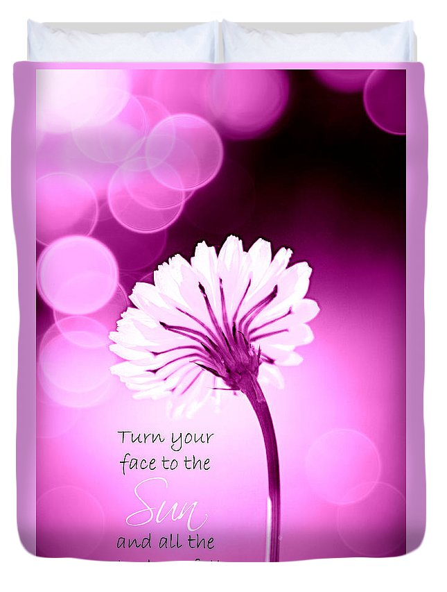 Face Duvet Cover featuring the photograph Turn Your Face To The Sun by Tina Meador