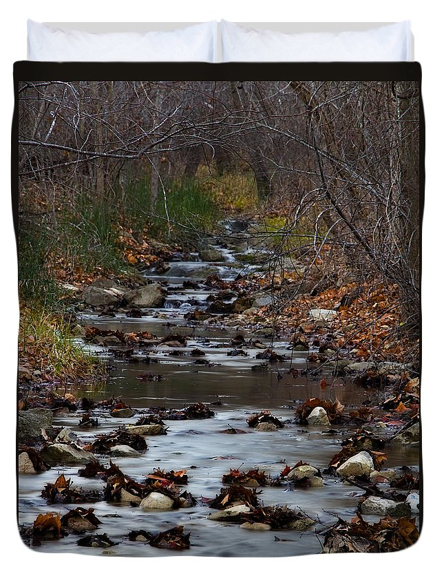 Stream Duvet Cover featuring the photograph Turner Falls Stream by Ricky Barnard