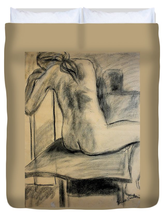 Nude Duvet Cover featuring the drawing Turning Beauty by Kendall Kessler