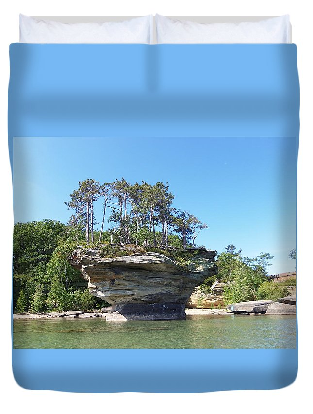 Port Austin Duvet Cover featuring the photograph Turnip Rock by Two Bridges North