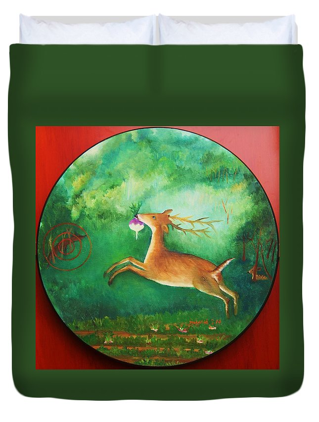 Target Duvet Cover featuring the painting Turnip Thief 3 by Misuk Jenkins