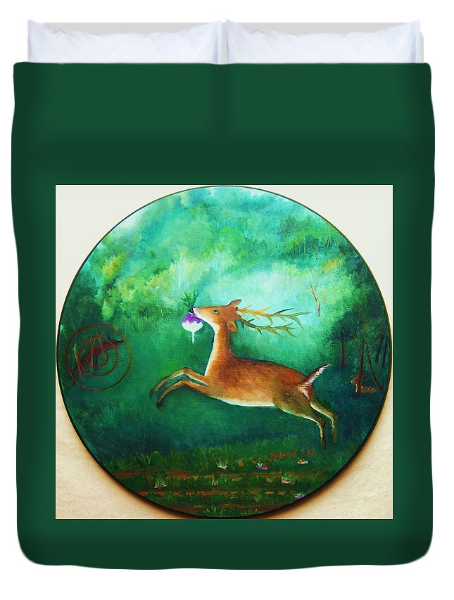 Target Duvet Cover featuring the painting Turnip Thief by Misuk Jenkins