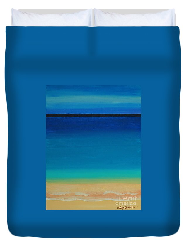 Turquoise Water Duvet Cover featuring the painting Turquoise Beach Scene Right Side by Robyn Saunders