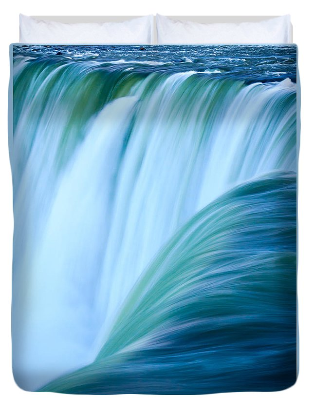 Waterfall Duvet Cover featuring the photograph Turquoise Blue Waterfall by Silken Photography