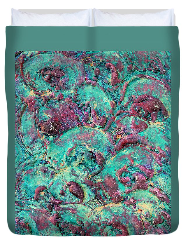 Abstract Paintings Duvet Cover featuring the painting Turquoise 3d Sculpting Abstract Painting by Julia Apostolova