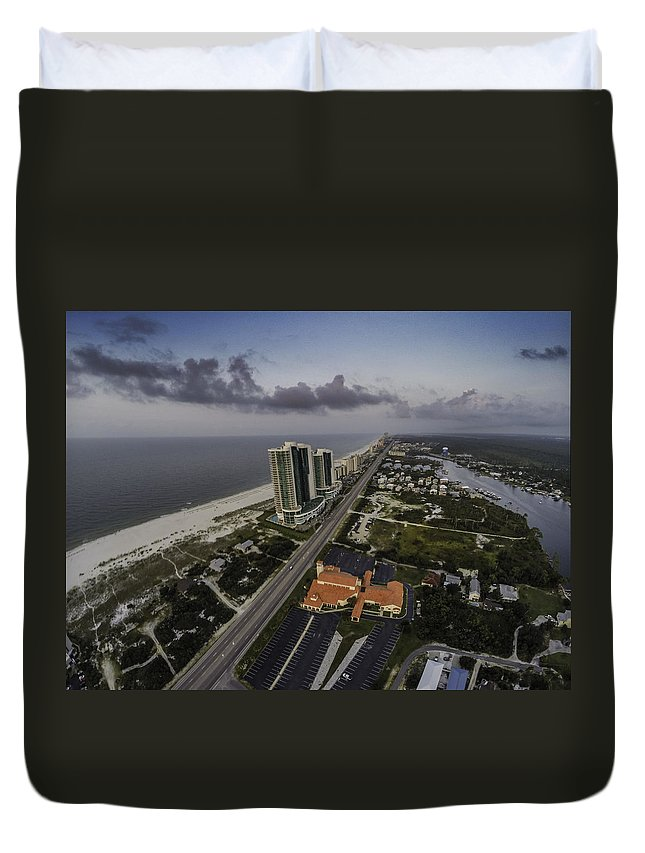Palm Duvet Cover featuring the digital art Turquoise Place At Dawn by Michael Thomas