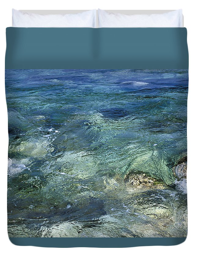 Turquoise Duvet Cover featuring the photograph Turquoise Sea by Lana Enderle