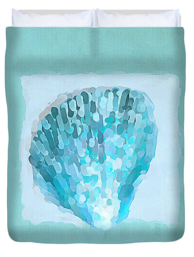 Seashell Duvet Cover featuring the painting Turquoise Seashells Vii by Lourry Legarde