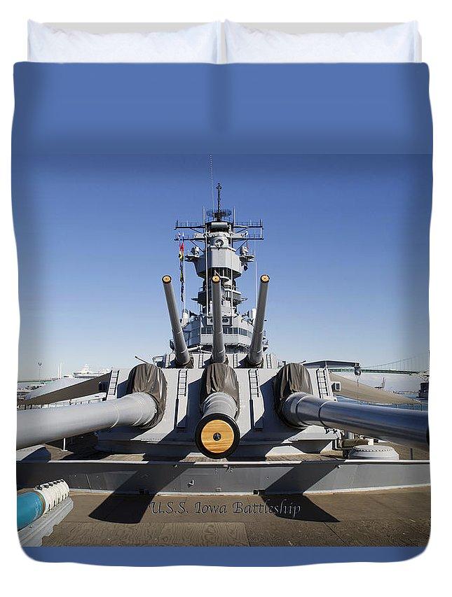 Turrets 1 And 2 Uss Iowa Battleship Shell Duvet Cover