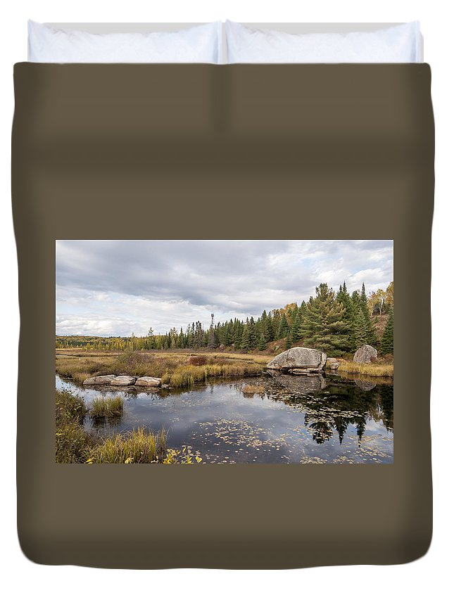 Algonquin Duvet Cover featuring the photograph Turtle Rock Cloudy Day by Richard Kitchen