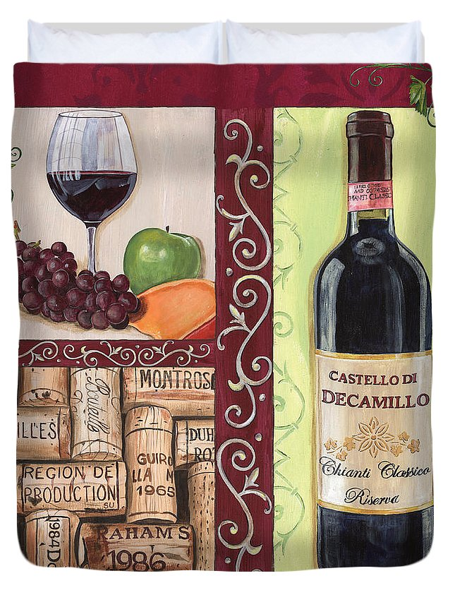 Wine Duvet Cover featuring the painting Tuscan Collage 2 by Debbie DeWitt