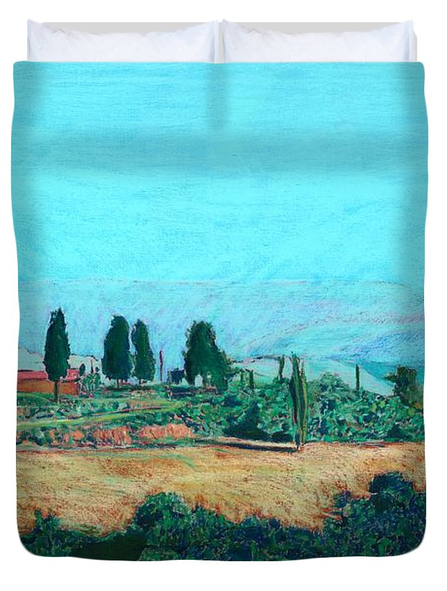 Landscape Duvet Cover featuring the painting Tuscan Farm by Allan P Friedlander