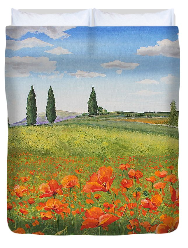 Painting Duvet Cover featuring the painting Tuscan Poppies-b by Jean Plout