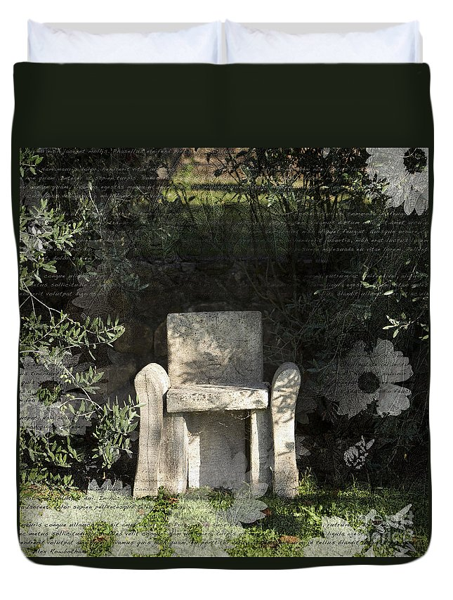 Seat Duvet Cover featuring the photograph Tuscan Seat by Alex Rowbotham
