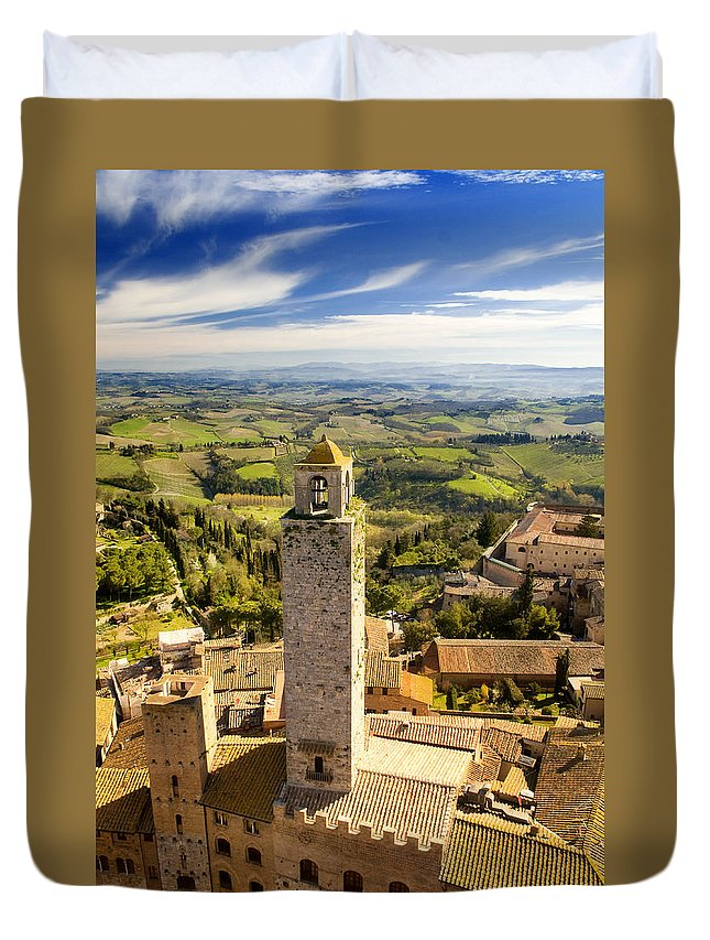 San Gimignano Duvet Cover featuring the photograph Tuscan Tower by Mick House