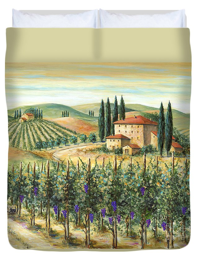 Tuscany Duvet Cover featuring the painting Tuscan Vineyard And Villa by Marilyn Dunlap