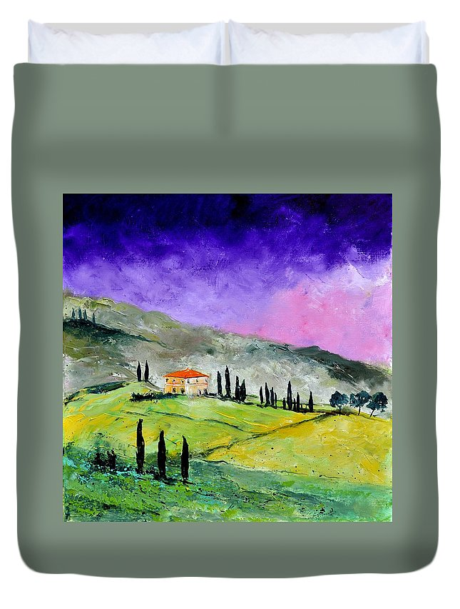 Landscape Duvet Cover featuring the painting Tuscany 663110 by Pol Ledent