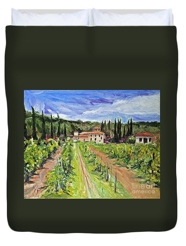 Tuscany Duvet Cover featuring the painting Tuscany Afternoon by Jennifer Beaudet