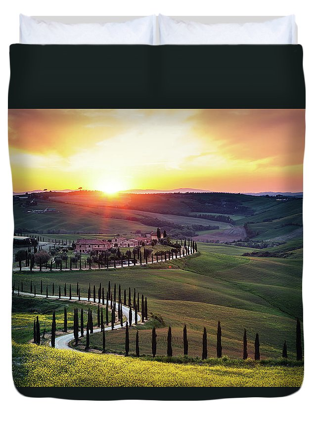 Scenics Duvet Cover featuring the photograph Tuscany Landscape At Sunset by Borchee