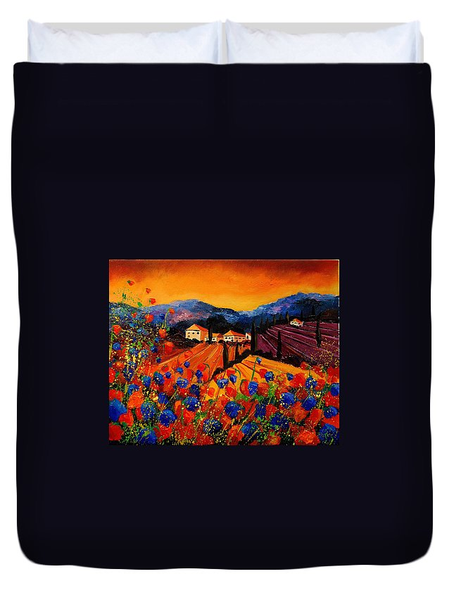 Poppies Duvet Cover featuring the painting Tuscany Poppies by Pol Ledent