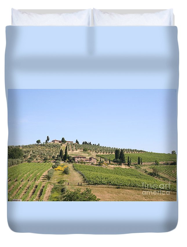 Vineyard Duvet Cover featuring the photograph Tuscany Vineyard by Christiane Schulze Art And Photography