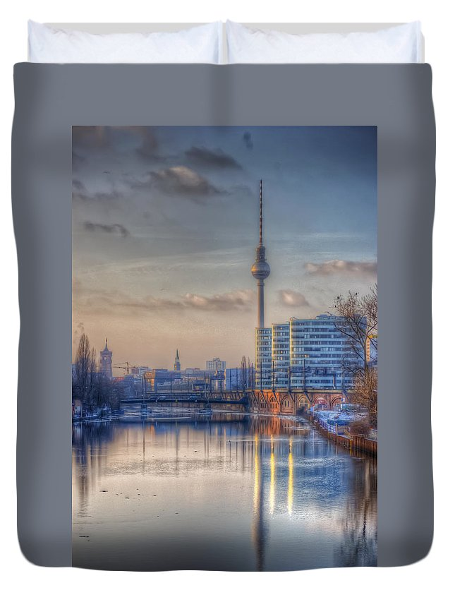 Architecture Duvet Cover featuring the digital art Tv Tower Sunset by Nathan Wright