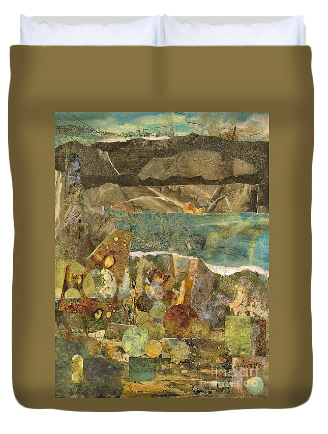 Collage Duvet Cover featuring the mixed media Twelve Stones by Vicki Baun Barry