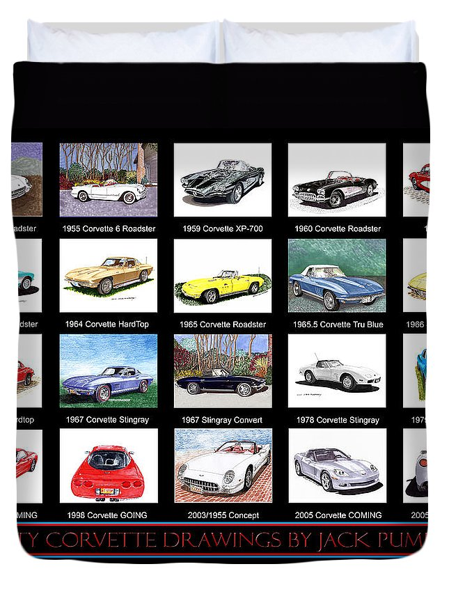 20 Drawings Of The Chevrolet Corvette By Jack Pumphrey Duvet Cover featuring the painting Twenty Corvettes by Jack Pumphrey
