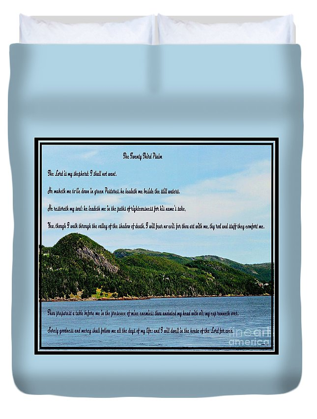 Twenty Third Psalm And Mountains Duvet Cover featuring the photograph Twenty Third Psalm And Mountains by Barbara Griffin