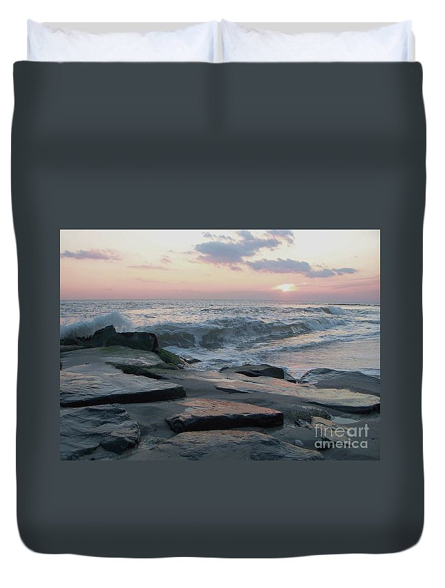 Twilight Duvet Cover featuring the photograph Twilight At Cape May In October by Eric Schiabor
