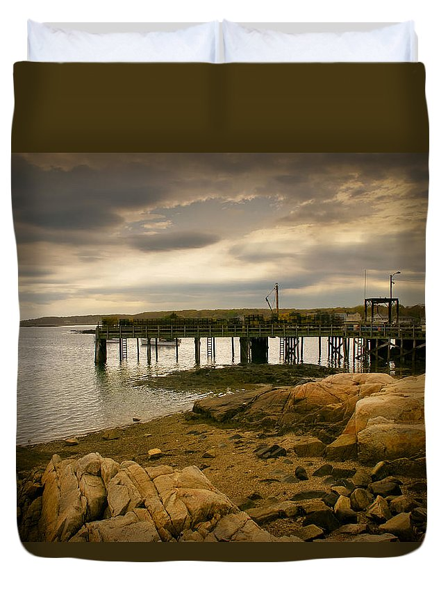 Kennebunk Duvet Cover featuring the photograph Twilight Cape Porpoise Maine by Bob Orsillo