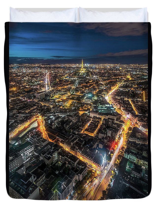 Tranquility Duvet Cover featuring the photograph Twilight City View Of Paris by Coolbiere Photograph